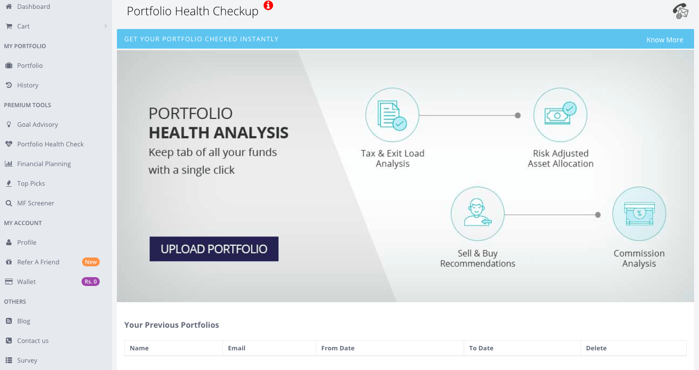 Portfolio health Analyzer - Home screen